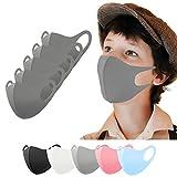 Kinder Stoffmaske 5 Stück grau, Mundschutz Masken waschbar, Behelfsmaske, Alltagsmaske, Gesichtsmaske, Mund und Nasenschutz, Mädchen, Jungen Jungs
