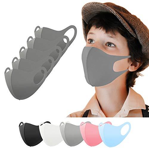 Kinder Mundschutz Maske waschbar 5 Stück, Mund und Nasenschutz Kinder grau, Behelfsmaske, Alltagsmaske, Gesichtsmaske, Stoffmaske, Community Maske