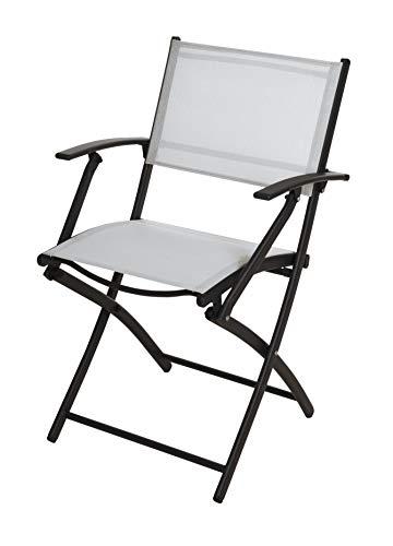 Metall Klappstuhl schwarz weiß mit Armlehne - 86,5 cm - Gartenstuhl Balkonstuhl Camping Stuhl