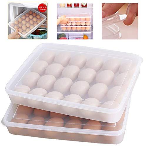 Soporte para huevos para nevera, 2 x 24 cm, plástico transparente, 2 unidades
