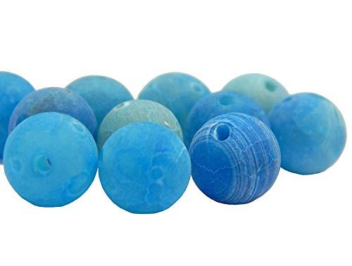 Piedras preciosas de 6 mm, 8 mm, 10 mm, piedras de ágata oxidadas, piedra natural redonda, piedra de ágata esmerilada, piedra semipreciosa, azul, 10mm - 12Stück