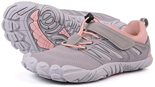 JOOMRA Women Barefoot Road Running Shoes Minimal Wide Cross Training for Ladies Runners Size 8.5 Athletic Hiking Trekking Toes Sneakers Workout Footwear Grey Pink 39