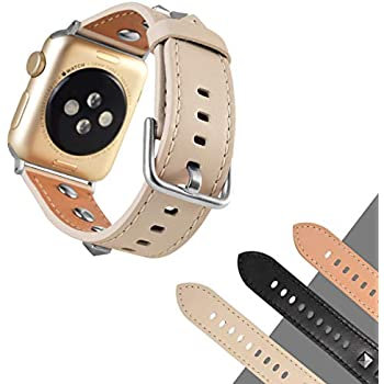 3D Stud Genuine Leather Watch Band