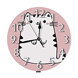 SSOIU Cute Cat Wall Clock,Kawaii Kitten White Animal Kitty Anime Style Isolated Pink Silent Non-Ticking Round Wall Clock Battery Operated for Home Office School Decorative Clock Art