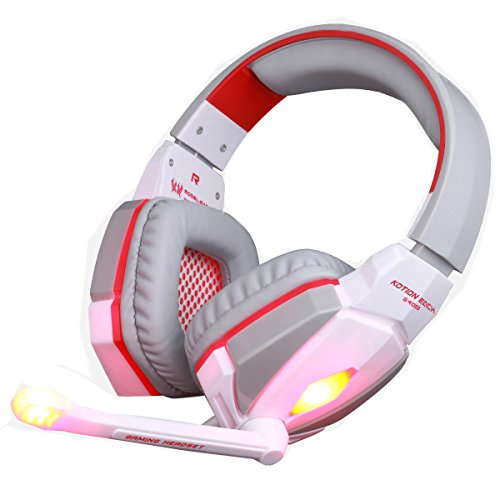 Gaming Headset KOTION EACH G4000 Stereo 3.5mm Plug Gaming Headphone Headset Headband with Mic Volume Control for PC Game by AFUNTA (White + Red)