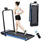 Bifanuo 2 in 1 Folding Treadmill, 2.25 HP Smart Walking Running Machine with Bluetooth Audio Speakers, Installation-Free,Under Desk Treadmill for Home/Office Gym Cardio Fitness (Blue)