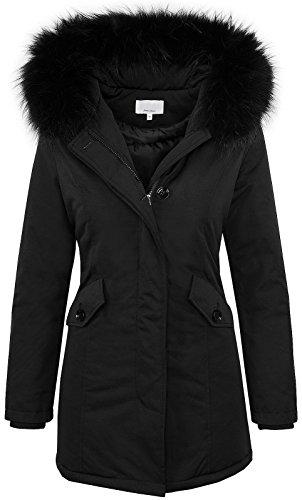Rock Creek Selection Designer Damen Winter Jacke Parka Mantel Winterjacke gefüttert D-218 [Black Gr. XS / 34]