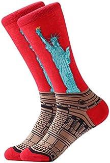 Weichuang Calcetines de algodón peinado colorido Van Gogh retro pintura al óleo para hombre calcetines cool casual vestido...