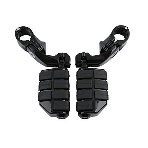 XMT-MOTO Black 32mm Highway Foot Pegs Pedals For Harley Touring Road King Street Glide