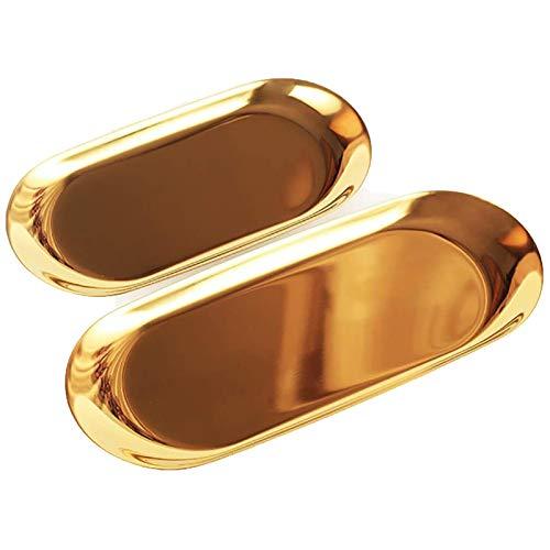 WZYTEU 2 Pcs Bandeja Ovalada, Bandejas Doradas de Acero Inoxidable para Guardar Anillo Cosméticos Joyas Perfume Llaves Aperitivos (23x9.5cm, 18x8.5cm)