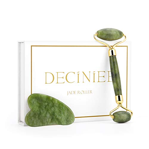 Deciniee Jade Roller for Face,Natural Xiuyan Jade Roller and Gua Sha Set,2 in 1 de-puffing Under Eye Jade Facial Beauty Roller Skin Care Tools,Anti Aging Face Massager Kit for Face,Eye,Neck,Body