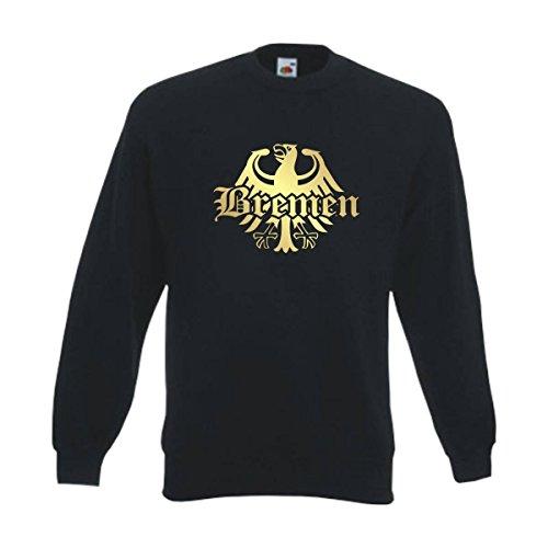 Fun T-Shirt Sweatshirt Bremen Meine Heimat Meine Liebe, edel bedruckter schwarzer Herren Städte Pullover mit Rundhals auch Übergrößen (SFU08-21c) 6XL