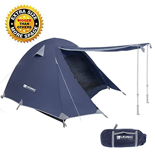 Weanas Professional Backpacking Tent 2 3 4 Person 3 Season Weatherproof Double Layer Large Space Aluminum Rod for Outdoor Family Camping Hunting Hiking Adventure Travel (Extra Size Navy, 3-4 Person)
