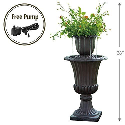 Peaktop VFD8193 Outdoor 28.35' Urn Flower Pot Water Fountain Peaktop-VFD8193 Fall, 16.1' x 28.3'