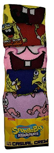 Bioworld Spongebob Squarepants 5 Pair Casual Crew Socks, Multicoloured,  8-12
