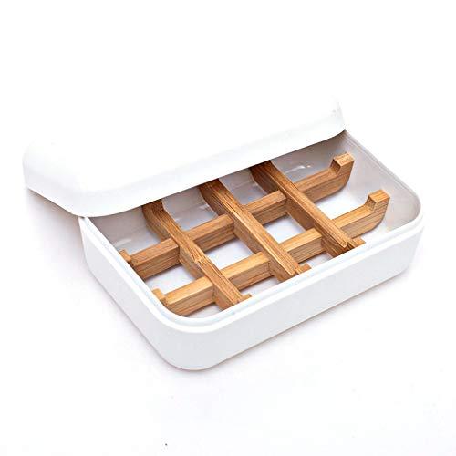 Grantop Seifenschale mit Bambushalter, Nachhaltig Umweltfre&lich Natürliche Bambus Seifenkiste aus Bambusfaser Für Küche Bad Waschbecken Deck