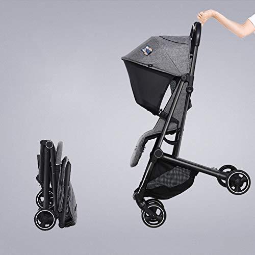 Cochecito de bebé ultraligero con manillar reversible, carrito de cuatro ruedas con una sola mano plegable