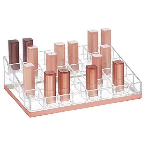 mDesign praktischer Lippenstift Organizer – dekorative Kosmetik Aufbewahrungsbox für Nagellack und Lippenstift – Ablage mit 40 Fächern zur Schminkaufbewahrung – durchsichtig und rotgold
