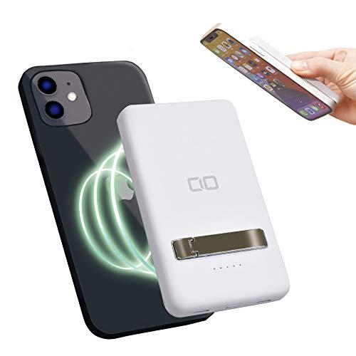 CIO マグネット モバイルバッテリー 5000mAh iPhone12 magsafe対応 PD ワイヤレス充電 15W CIO-MB5000-MAG-WH