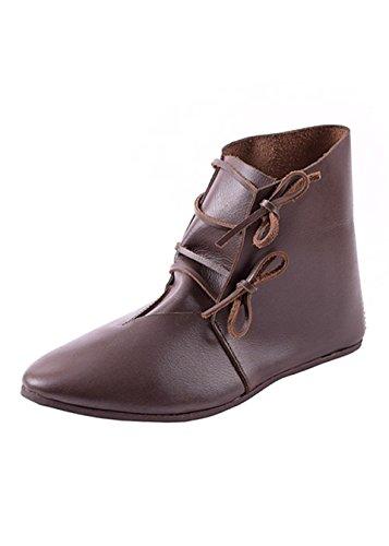 Ulfberth Mittelalterliche Schnürschuhe aus Leder, Dunkelbraun - Mittelalter - LARP - Wikinger Schuhe Schuhgröße 47 (UK12)