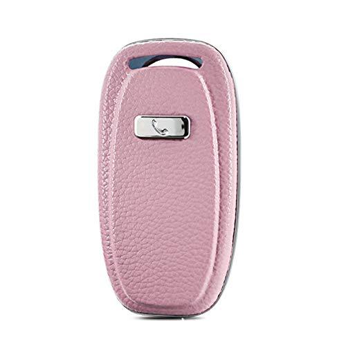 HEZHOUJI Auto Chiave Case, Custodia per chiave per auto, portachiavi, per Audi A4 A4l A5 A6 A6l Q5 Rs7 S7 A7 A8 Q5 S5 S6 Shell Accessorio per lo styling remoto, il canto rosa