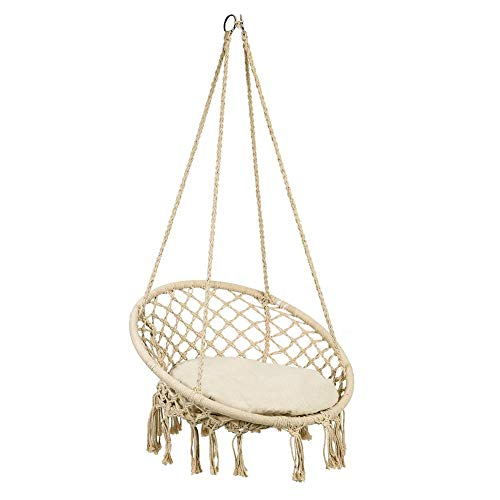 GOTOTOP Swing Chair Suspended Chair with Cushions Garden Swing Swing for Garden, Beige Swing for Children, Indoor/Outdoors, Patio, Terraces, Courtyard, Bar
