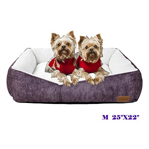 Coohom Rectangle Washable Dog Bed,Warming Comfortable Square Pet Bed Simple Design Style,Durable Dog Crate Bed for Medium Large Dogs (25 INCH, Purple)