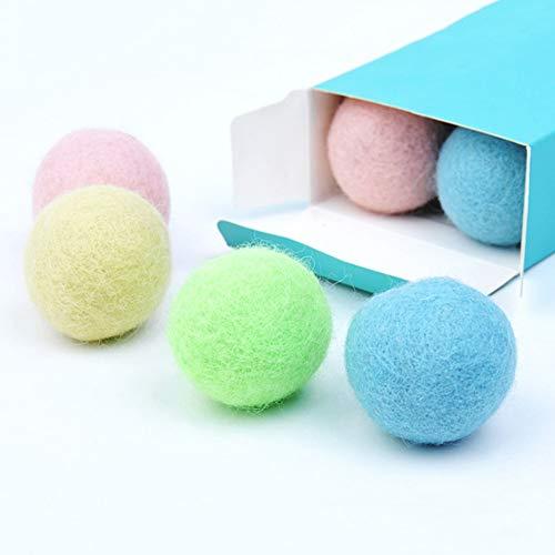 4 x Katzen-Bälle mit integrierter Glocke, Durchmesser 4,1 cm, Filz-Plüsch-Tennisbälle, lustige Spielbälle für Haustiere, Katzen, Kätzchen, Welpen (4 Farben)