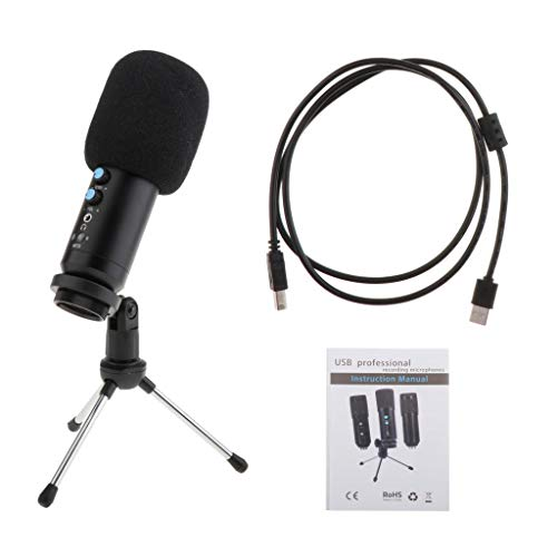 SM SunniMix PC USB Microphone, Condenser Microphone with Tripod Stand for Windows Desktop Laptop Podcasting, Recording, Gaming, Singing, Conference - Plug & Play