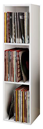 VCM Regal Schallplatten Standregal Bücherregal Universal Archiv LP Möbel Archivierung Holz Weiß 115x34x29 cm 'Platto'