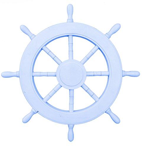 Nagina International Gouvernail de bateau nautique en bois - Décoration d'intérieur de pirate - Tentures murales pour chambre d'enfant (40,6 cm, bleu clair de lune)