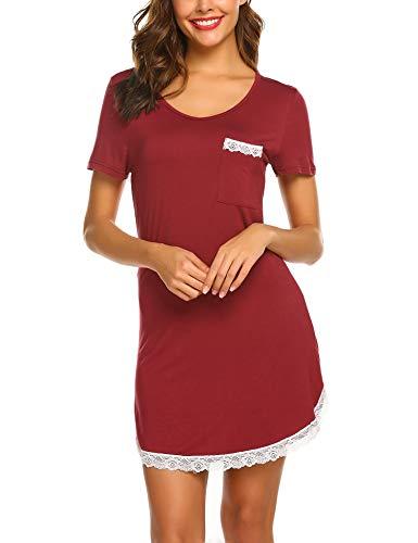 MAXMODA Damen Baumwolle Sommer Nachthemd Rundhals Kurzarm Nachtkleid Sleepwear mit Spitzensaum (S-XL)