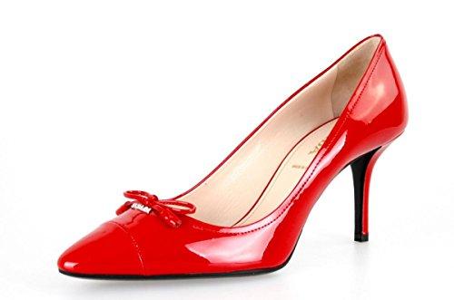 Prada Damen Rot gebürstetes Spazzolato-Leder Leder Pumps 1I294F 069 F0011 39.5 EU