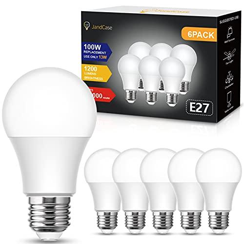 JandCase - Lampadine LED E27 fredda, equivalenti a 100W, 13W lampadina LED E27 A60, luce fredda 6000K, 1200 lumen, Risparmio Energetico, Non Dimmerabile, Pacco da 6