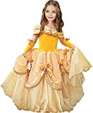 CQDY Princess Costume for Girls Yellow Dress Party Christmas Halloween Cosplay Dress up