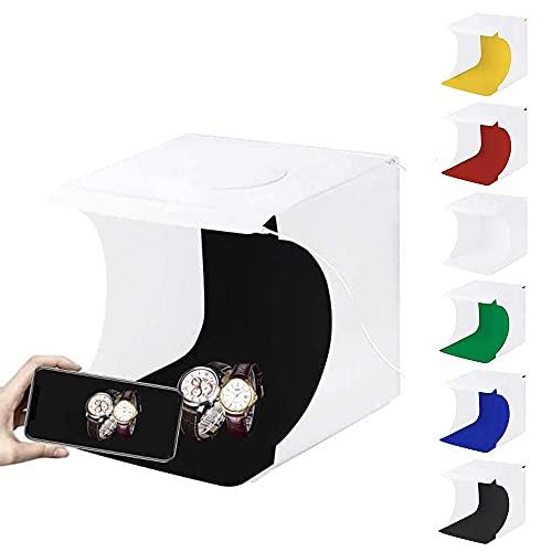 PULUZ - Caja de luz para estudio fotográfico (2 luces LED, 1100lúmenes) con 6 fondos de color