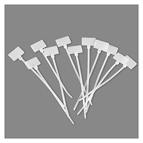 Cable de plástico lazo 100pcs Ties de cables de nylon, marcadores de etiqueta de plástico de marca de fácil manera, correas de alambre de bucle de red con cremallera, muti-propósito 3x100 4x150 4x200m