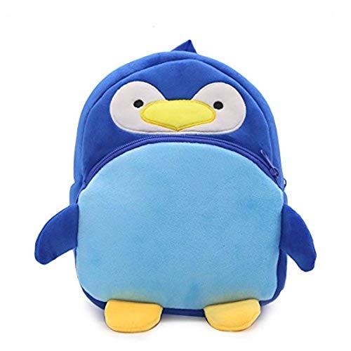 Cicilin Niños Mini Mochila Lindo Felpa Escuela Bolsa Pequeña Mochila Bebé 3D Animal Forma School Bag Regalo, pingüino (Azul) - CI.BB0460-I