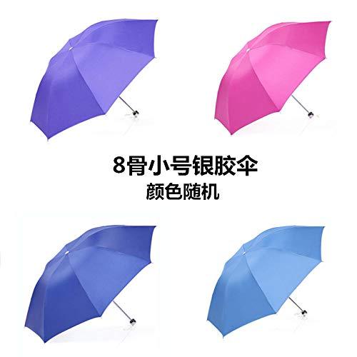Regenschirm weiblich Falten kleine frische Student Regenschirm männlich und weiblich schwarz Kunststoff Sonnenschutzschirm UV-Schutz Regenschirm Großhandel tragen blau, 8 Knochen Silber Kunststoff Si