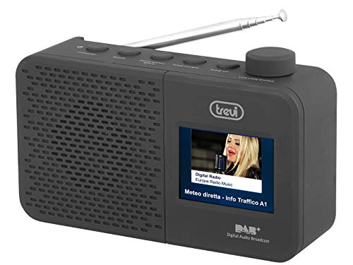 """Trevi Dab 795 R Radio con Ricevitore Digitale Dab/Dab+ e Fm con Rds, Grande Display LCD a Colori 2.4"""", Due Sveglie Programmabili, Funzione Orologio, Alimentazione a Corrente e a Batterie"""