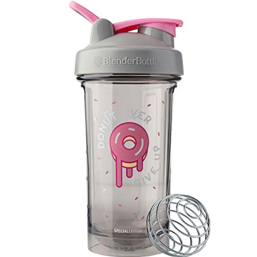 BlenderBottle Foodie Shaker Bottle Pro Series Perfect for Protein Shakes and Pre Workout, 24-Ounce, Donut Ever Give Up