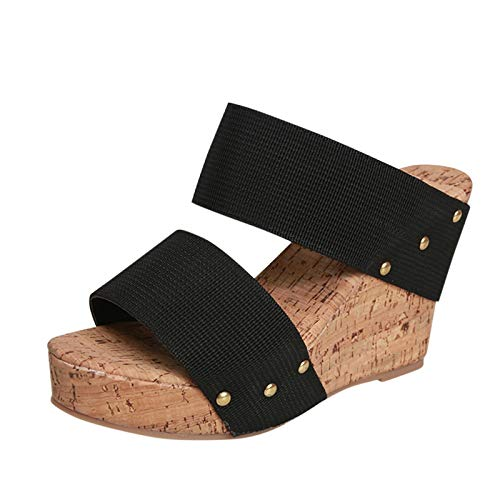 Wedges Shoes for Women Basketball Shoes Shoes for The Beach Summer Wedges Shoes for Women Slippers for Women (Black42,8.5)