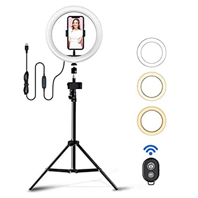 TGOOD 10 inch LED Selfie Ring Light with Tripod Stand & Phone Holder for Live Streaming/Makeup/TIK Tok/YouTube Video, Dimmable Camera Lamp Fill Light for Photography Vlogging Shooting Vlog USB Plug by TGOOD
