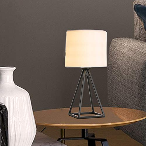 ZWL147B Nachttischlampe, modern, schwarz, geometrisch, Metall, ausgehöhlt, Diamantkorb, Nachttischlampe für Schlafzimmer, Wohnzimmer, Cremeweiß