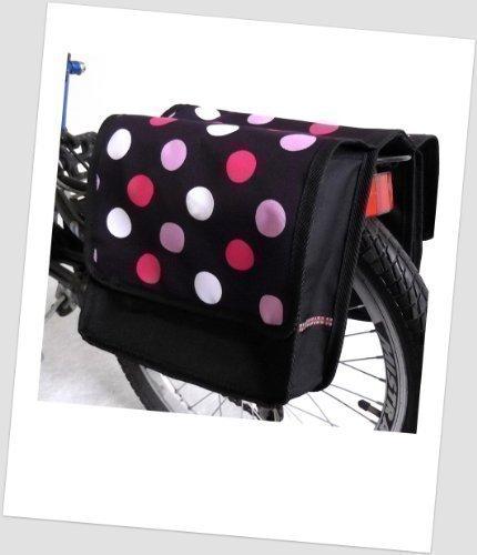 Kinder-Fahrradtasche Joy Satteltasche Gepäckträgertasche Fahrradtasche 2 x 5 Liter Farbe: 43 Dots 3 Black