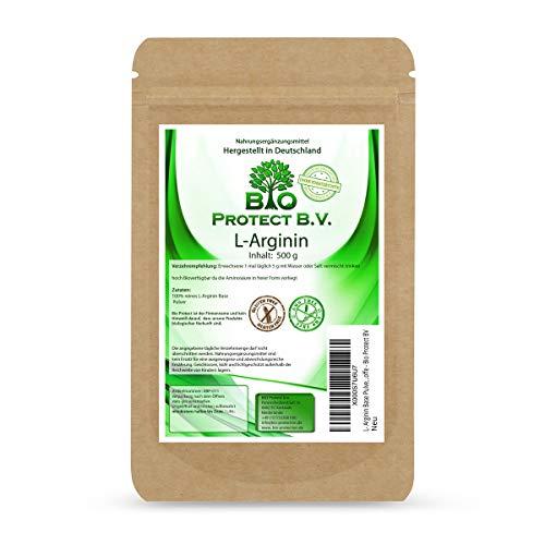 L- Arginin Base Pulver 500 Gramm - 100{d188f4e8ad5e2d6a182065fba8e045782daa6b8e58e5a8f15a246583be9e1373} ohne Zusatzstoffe - reinstes Arginin Pulver in Premiumqualität von Bio Protect immer frei von Magnesiumstearat und anderen Zusatzstoffen