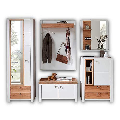 Stella Trading SERPIO Flurgarderoben Set Weiß matt, Wildbuche massiv - Stylishe Garderobenkombi für Ihren Eingangsbereich - 257 x 202 x 41 cm (B/H/T)