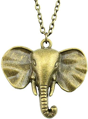 LKLFC Necklace Women Necklace Men Necklace 40X44 Mm Antique Bronze Color Elephant Pendant Necklace Female Necklace Pendant Necklace Girls Boys Gift