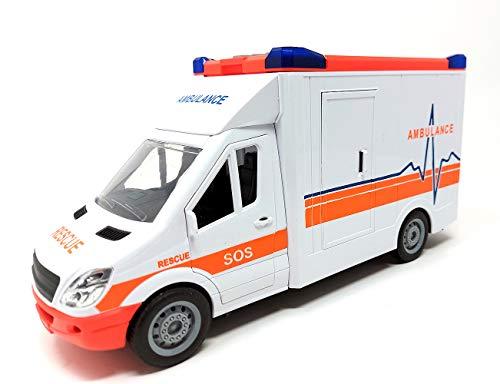Krankenwagen Fahrzeug, Rettungswagen Auto Spielzeug, Spielzeugauto mit Blaulicht und Sound, 27 cm