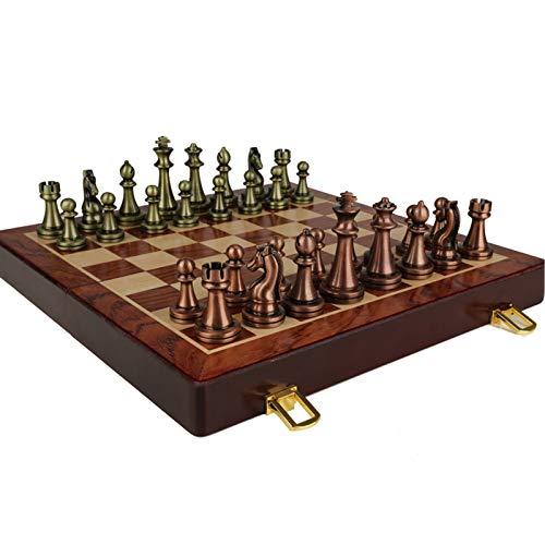 Hölzernes Schachspiel mit gefilztem Spielbrett-Interieur zur Aufbewahrung, Metallschachfiguren Perfekte für Anfänger und Erwachsene,52x52x4cm